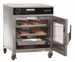 Alto-Shaam® oven with open door viewing the cooking trays