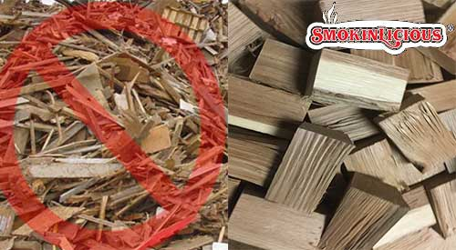 Not all wood supplier is like Smokinlicious®, cutting their product from forest grown fresh harvest. Rather they use recycled material.