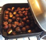 Chestnuts in the stovetop smoker pan