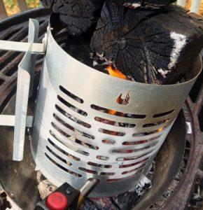 Using chimney starter to ignite charwood