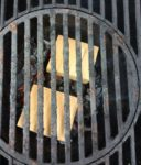 Single Filet wood chunks under the grilling grate