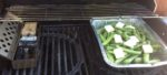 grilling fava beans on the gas grill with smoker box and single filet wood chunks