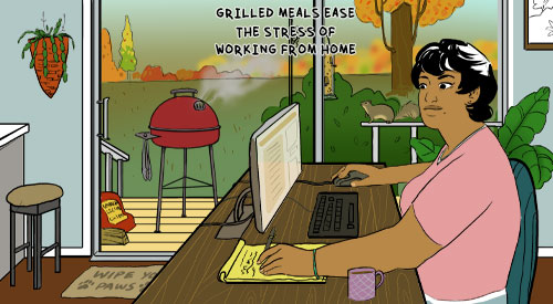 Grilling meals while home working provides hands free cooking and healthy choices!