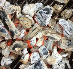 Our coals showing their hot embers and ready for direct ember coal cooking!