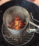 All our hot embers accumulated in the Chimney starter provides an excellent heat source for cooking
