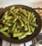 our prepared fresh okra on the smoker pan