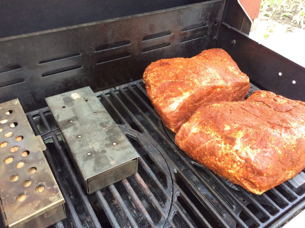 Our Boston Butt (s) on the Stok Gas Grill with accompanying Smoker boxes