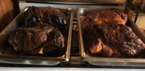 All four Boston Butt (s) one done on charcoal with the Weber, another in the Orion with wood chips and two on the gas grill with wood chunks- the coloring is not much different!