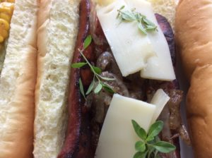 The alliedog has gruyere cheese, caramelized onions and fresh thyme