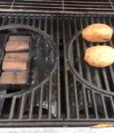 Our double filet wood chunks in the smoker box on the gas grill providing the flavor for our smokey sweet potatoes