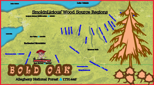 this map depicts the varied terrain of the appalachian hills where smokinlicious harvests their Oak Hardwood Species