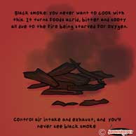 Black smoke is a sign of impurities and is not good for cooking
