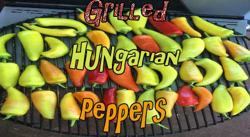 Smokey Hungarian Peppers on our kettle Grill!