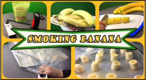 The steps and equipment used in the smoking of bananas for a dessert