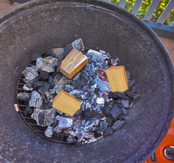 Adding wood chunks will turn your charcoal grill into a Smoker to produce tasty results.