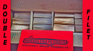 Our double filet box of pristine, NO BARK, hardwood wood chunk for smoking ready for the next customer!