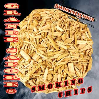 Smokinlicious® Grande Sapore-larger smoker wood chips are crushed to preserve the great moisture level to be released during the cooking process.