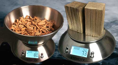 our food scale demonstrates HOW MUCH WOOD TO ADD of Grande Sapore® and Double Filet wood chunks as a guide to adding wood flavoring with our Smokinlicious® products.