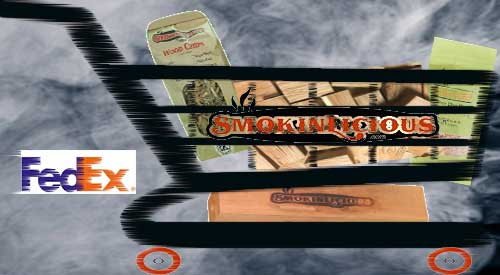 Smokinlicious® orders in a shopping cart being delievered by FedEx to your door step.